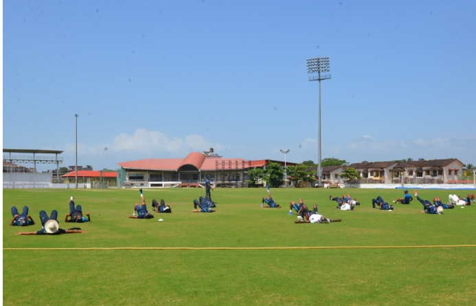 Ranji players warm up